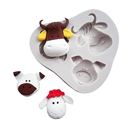 Amazon.com: WYD 3D Animal Cow Sheep Pig Head Silicone Molds Cake Molds Decoration Baking Tool Handmade Soap Chocolate Fondant Molds