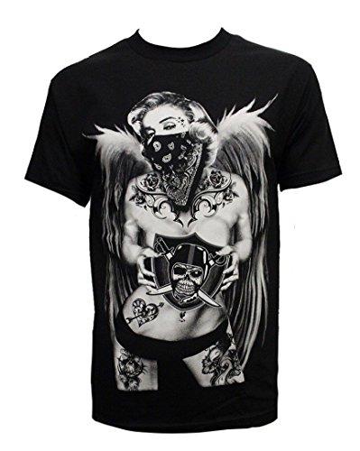 Men's Fashion Print Tee Shirt Short Sleeve California Republic Bear Raiders Marilyn, Black, Large