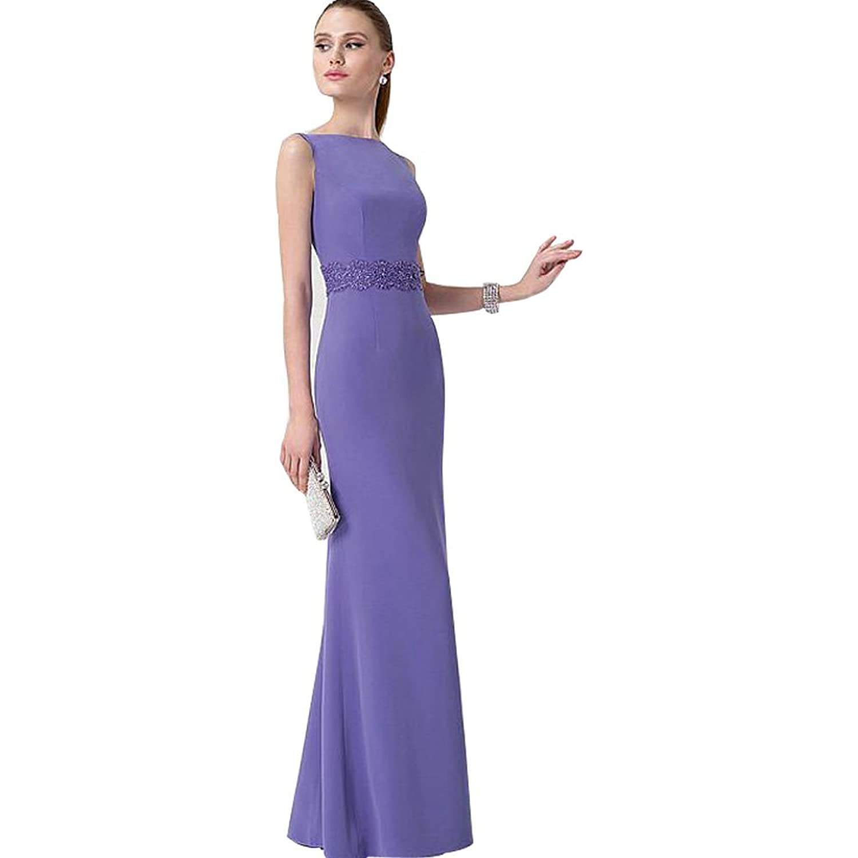 Suzy Bridal Women's Sleeveless Applique Waistband Floor Length Party Dress