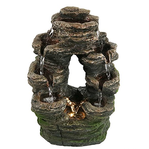 Polyresin Rock (Sunnydaze Tabletop Water Fountain with LED Light, Split Mossy Rock Falls, 14 Inch)