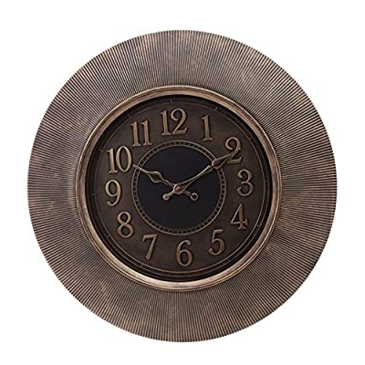 "Kiera Grace-20 Wall Clock, Brown - Antique bronze plastic wall clock, 20"" Wide and 2"" Thick Glass lens and accurate Black glossy metal hands with an ultra white facechecking movement Antique bronze hands with debossed numbers - wall-clocks, living-room-decor, living-room - 51pxBy%2B5NOL. SS400  -"