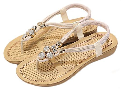 NEWZCERS Sandalias strappy de los rhinestones puros del color de las mujeres del verano blanco