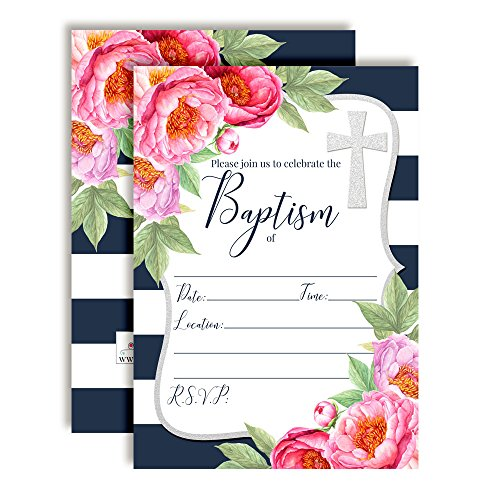 Watercolor Floral Peonies with Navy Stripe Baptism Invitations, 20 5