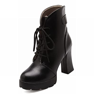 Women's Chic Cold Weather Lace-up Platform Chunky High-heel Short Dress Boots