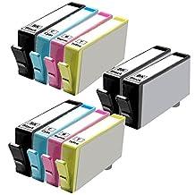 10 Inkfirst® Ink Cartridges (HP 564XL) Compatible Remanufactured for HP 564 564XL Black, Cyan, Magenta, Yellow (High Capacity) (2 Set + 2 Black) OfficeJet 4620 6512 6515 Photosmart B210a C309g C309a NEW VERSION CN684WN, CN685WN, CN686WN, CN687WN