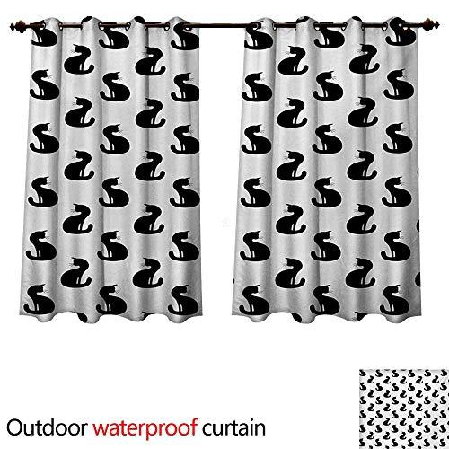 WilliamsDecor Cat 0utdoor Curtains for Patio Waterproof Silhouette of a Kitten Monochrome Feline Pattern House Pet Illustration Halloween W55 x L72(140cm x 183cm)