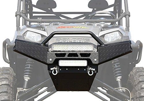 (SuperATV Textured Diamond Plate Front Brush Guard Bumper for Polaris Ranger Full Size XP 570/700 / 800/900 / 1000 (SEE FITMENT) - Winch Ready!)