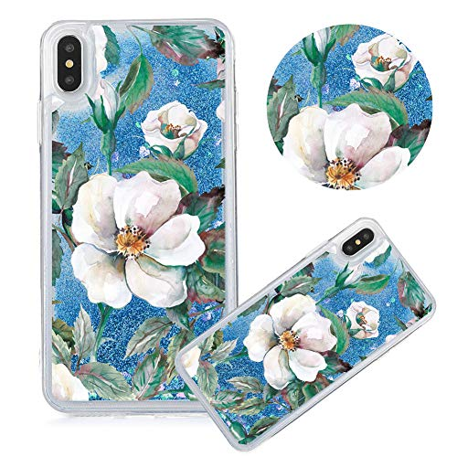 - iPhone 8 Case,Glitter Painted Quicksand Case for iPhone 7,Moiky Flower Series Color Printing Liquid Sparkly Quicksand Soft Clear TPU Crystal Transparent Protective Cover,Gardenia#Blue