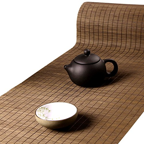 Tea Talent Handmade Natural Bamboo Sticks Tablemat Decor Kungfu Tea Set Slat Mat Placemat Tea Table Runner 12 By 70-inch, Coffee
