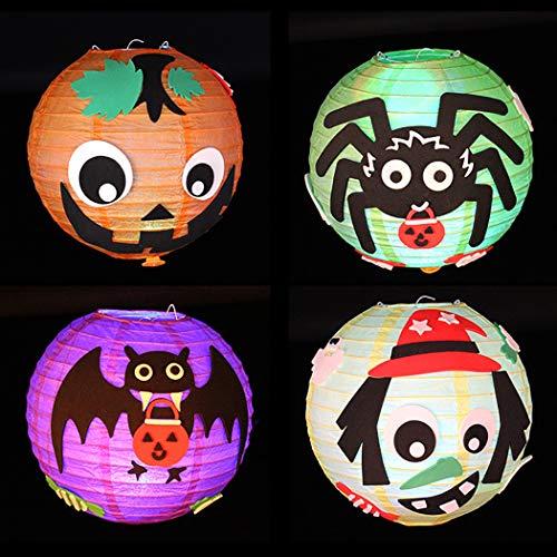 FunPa 4 Sets Handmade Craft Kit Light up Paper Lantern DIY Craft Kit for Halloween ()