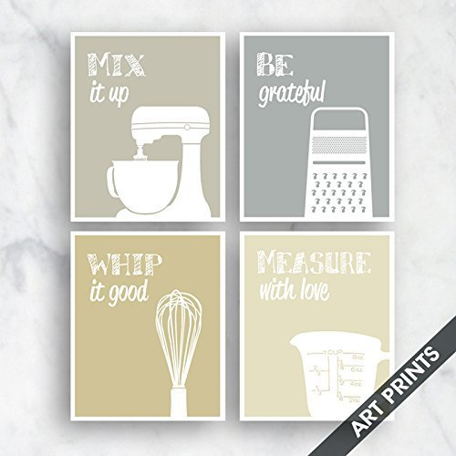 Measuring Grater - Funny Kitchen Art Print Set (Mixer, Grater, Whisk, Measuring Cup) Set of 4 - 5x7 inch Unframed Art Prints (Featured Khaki, Grey, Tan, Cream) Larger sizes available by choosing drop down menu