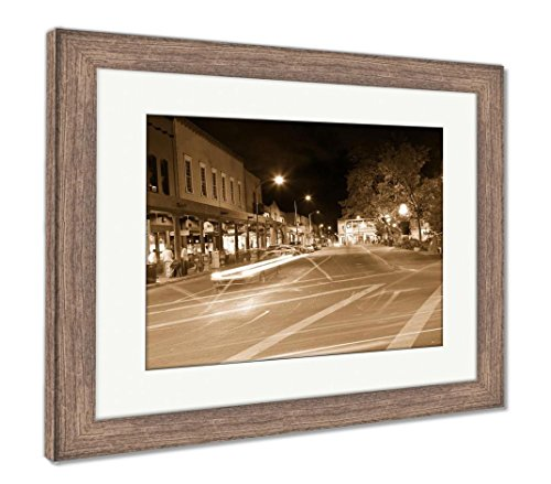 Downtown Santa Fe New Mexico - Ashley Framed Prints Woman Sitting On The Bench in Santa Fe, Wall Art Home Decoration, Sepia, 30x35 (Frame Size), Rustic Barn Wood Frame, AG6529285