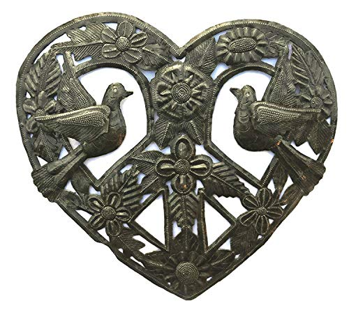 Metal Peace Sign Heart Haitian Wall Decor, Decoration of Love and Friendship Wall Hanging Plaques, Tree, Peace, Handmade in Haiti, 12