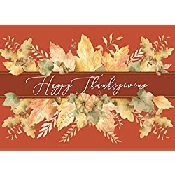TH1802 Thanksgiving Greeting Card. 25 Cards and 26 Gold foil Lined envelopes.