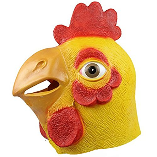 molezu Rooster Mask, Animal Mask Head, Halloween Novelty Deluxe Mask Costume Party Cosplay Latex Cock Mask(Yellow)