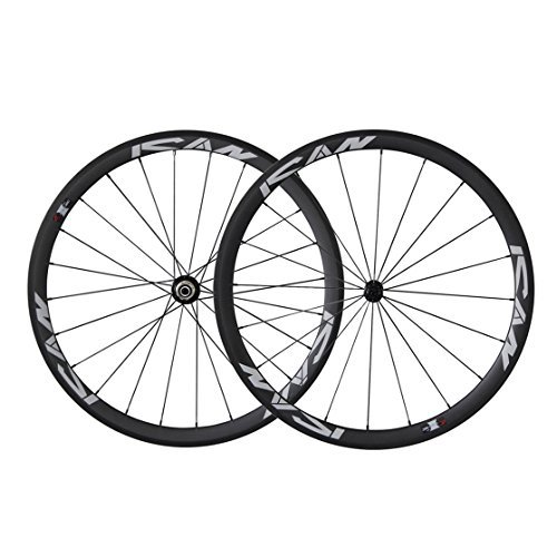 ICAN 700C Light Weight Road Bike Carbon Wheelset Clincher 38mm Basalt Brake Surface Rim Brake Only 1420g (Classic Wheels)