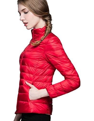 Autumn for Ultralight Red Flame Packable amp; CHERRY Jacket Spring Down Ideal CHICK Women's vqpOwx0E