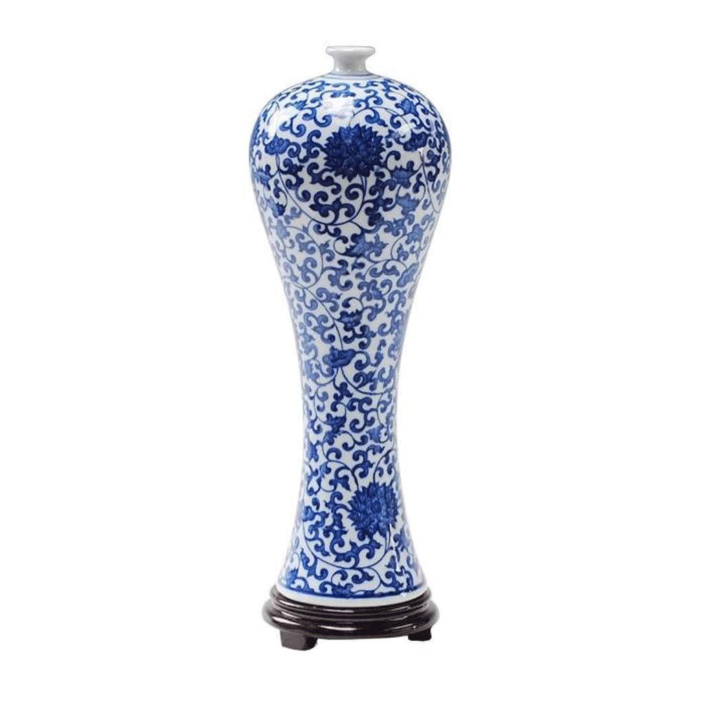 セラミック花瓶現代のファッションリビングルームの家の装飾の装飾品 LCSHAN (Color : Ceramic-Blue, Size : 33cm*11cm) B07T1G63P5 Ceramic-Blue 33cm*11cm