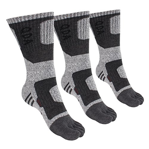 FITEXTREME Mens 3 Pack Excellent Stretch Five Finger Sports Hiking Toe Socks QDA Gray