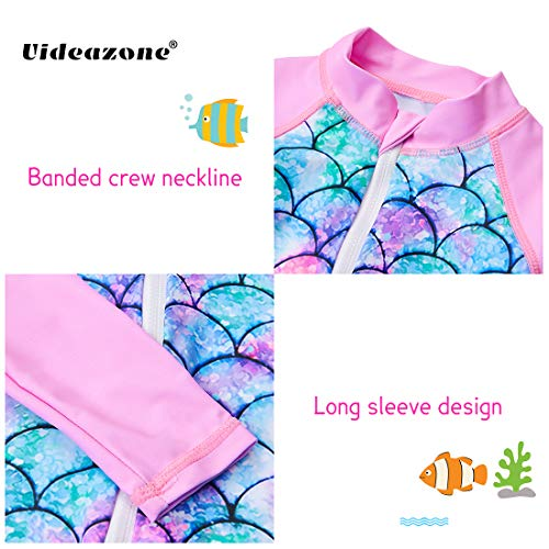 uideazone Toddler Swimsuit Long Sleeve Swimming Costume Fish Scale Printed Swimsuits for Baby Girls 18-24 Months Pink