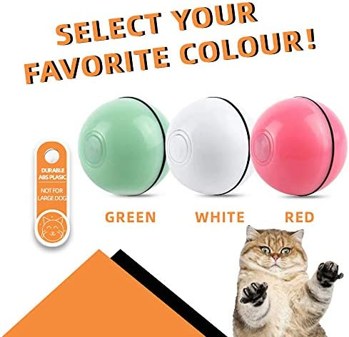 ELEBOOT 2019 Upgrade Vision Smart Interactive Cat Toys Ball,Automatic Rolling Laucher Ball for Kitten, USB Rechargeable Pet Toy, with Spinning LED Light,Wicked 360 Degree Self Rotating Ball 7