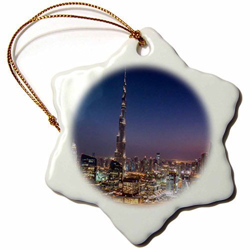 3dRose Danita Delimont - Cities - UAE, Downtown Dubai. Sunset over Sheikh Zayed Road. - 3 inch Snowflake Porcelain Ornament (orn_277105_1) by 3dRose