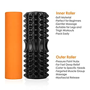 INTEY Foam Roller Exercises Deep Tissue Massage Roller 2 in 1 Yoga Roller for Workout Muscle Therapy
