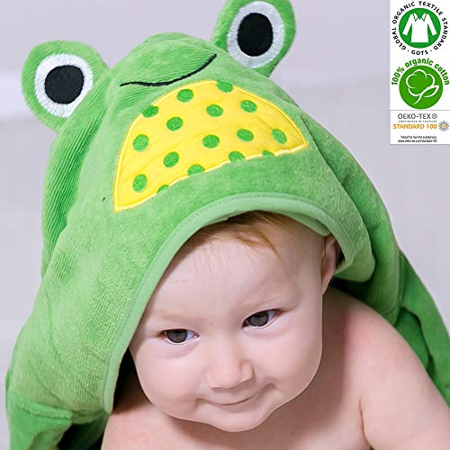 Baby Animal Face Organic Hooded Towel, Baby Bath Towel, Infant/Newborn/Baby Shower Present for Boy&Girls,%100 GOTS Certified (Green Frog)]()
