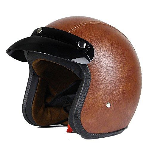 Retro Leather Motorcycle Helmet - 9