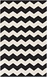 Super Area Rugs Black Rug Modern Striped Design 3-Foot x 5-Foot Cotton Flat-Woven Chevron Dhurry For Sale