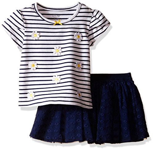 Little Me Toddler Girls' Daisy 2 Piece Skort Set, Navy, 3T Skirt Set Daisy