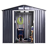 JAXPETY Galvanized Steel Outdoor Garden Storage Shed 9 x 6 Ft Heavy Duty Tool House W/Sliding Door