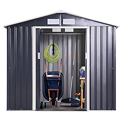 JAXPETY Galvanized Steel Outdoor Garden Storage Shed 9 x 6 Ft Heavy Duty Tool House W/Sliding Door