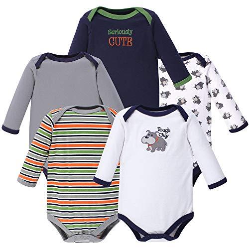 Luvable Friends Unisex Baby Long Sleeve Cotton Bodysuits, Dog 5 Pack, 6-9 Months (9M)
