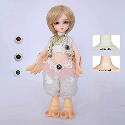 1//6 Jointed Male Make Up Nude Body w// White Hair for BJD Doll Normal Skin