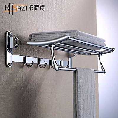 Barra de toalla de baño Organizador de almacenamiento de montaje en la pared para ahorrar espacio,organizar todo el estante con toallero,Barra de toalla de ...