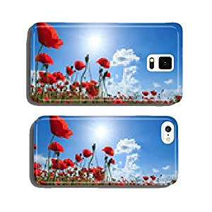 Field of wild red poppies on a sunny summer day cell phone cover case Samsung S6