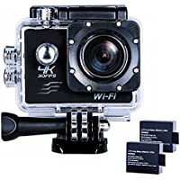 Sports Action Camera Ultra HD Waterproof DV Camcorder 4K WIFI Cam 1080P 170 Degree Wide Angle Black