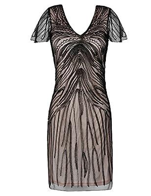 kayamiya Women's Roaring 20's Dress Bead Art Deco Flapper Cocktail Dress