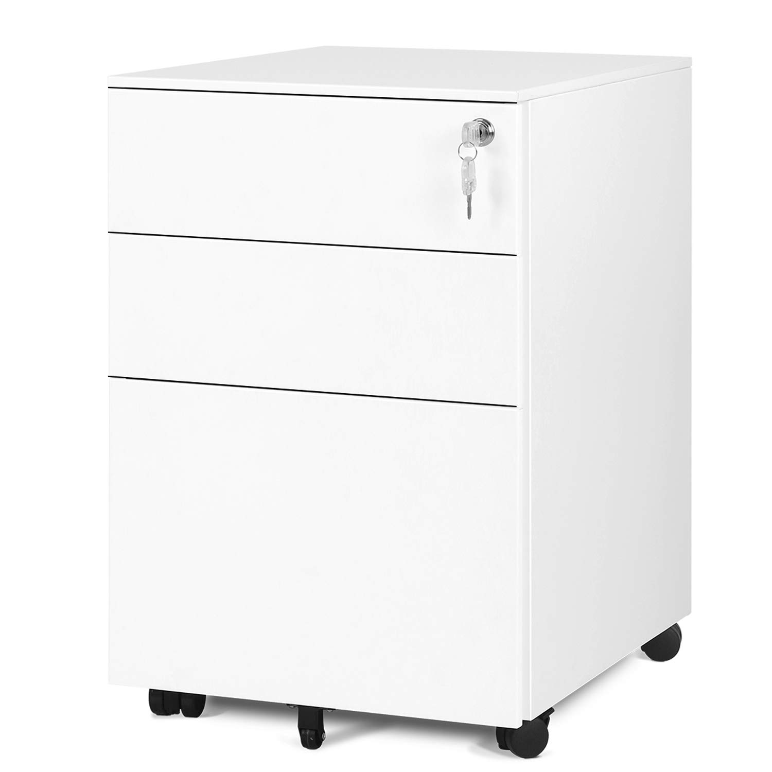 DEVAISE Locking File Cabinet, 3 Drawer Rolling Pedestal Cabinet, Fully Assembled Except Caster, White