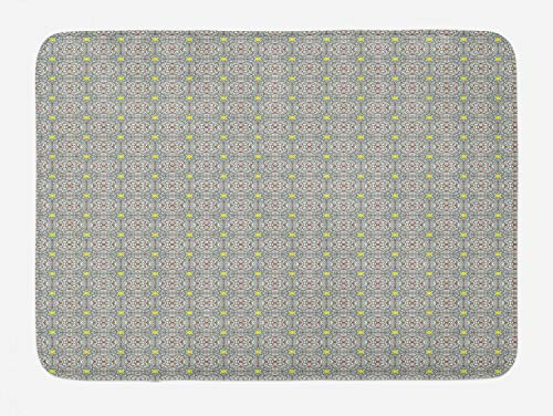 """Vintage Bath Mat, Abstract Mosaic Tile Look Pattern in Pastel Tones, Plush Bathroom Decor Mat with Non Slip Backing, 29.5"""" X 17.5"""", Coconut Umber Pale Blue and Avocado Green"""