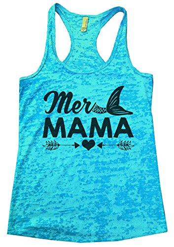 "Women's Burnout Tank Top ""Mer Mama"" Mermaid Tank Top Gift Medium, Blue"