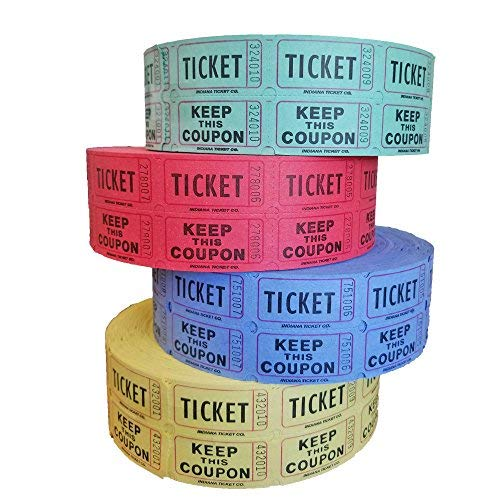Raffle Tickets - (4 Rolls of 2000 Double Tickets) 8,000 Total 50/50 Raffle Tickets (Blue/Green/Red/Yellow)
