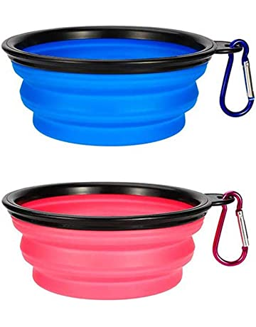 Hiking 4 Colors w//Clip BPA Free and Dishwasher Safe 12 oz Foldable Travel Pet Bowls Great for The Park Portable PBWJR/_GOALS Silicone Collapsible Pet Bowl 4pk Compact Walking