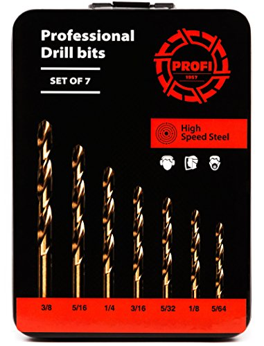 Impact Drill Bit Set for Hardened Metal – 7 pcs German High Speed Steel Bits for Professional Duty – with Metal Case by Proffi (Image #1)