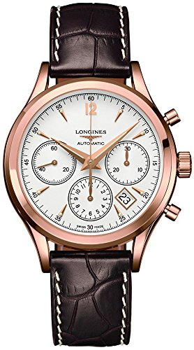 Longines Heritage Automatic Chronogaph Silver Dial 18kt Rose Gold Brown Leather Mens L27508762