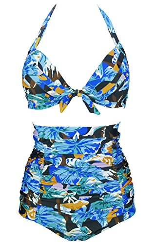 (COCOSHIP Black & Camel Bamboo & Blue Jade Lotus Leaves Tie Front Floral Top Halter High Waist Bikini Set Ruched Bathing Beachwear S )