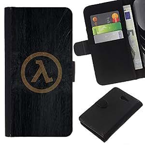 """A-type (Símbolo Half Life"""") Colorida Impresión Funda Cuero Monedero Caja Bolsa Cubierta Caja Piel Card Slots Para Sony Xperia M2"""