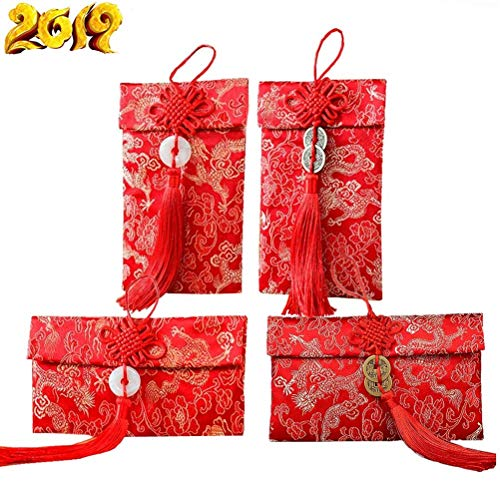 SUSHAFEN 4Pcs Chinese Hong Bao Embroidery Red Bag Silk Red Envelopes Fabric Gift Pocket Chinese Knot Pendant Red Envelopes for Wedding,Kids Birthdays,Chinese New Year Spring ()