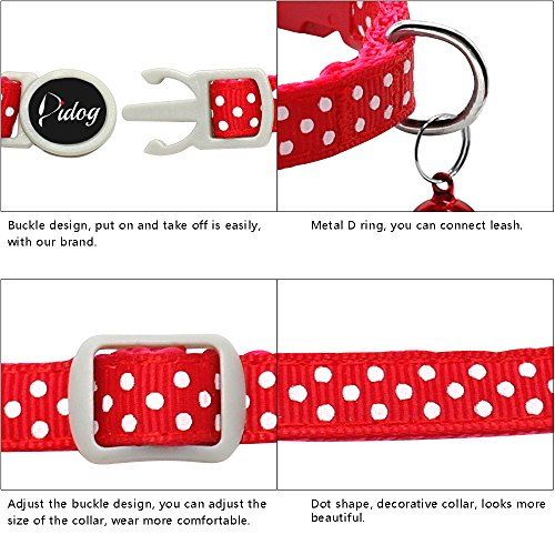Picture of Didog 6 Pcs Safety Cat Collars,Breakaway Cats Collars with bells,Adjustable 7-10.5